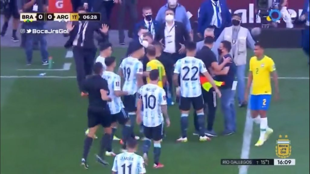 Health authorities stopped the match and detained 4 Argentine footballers